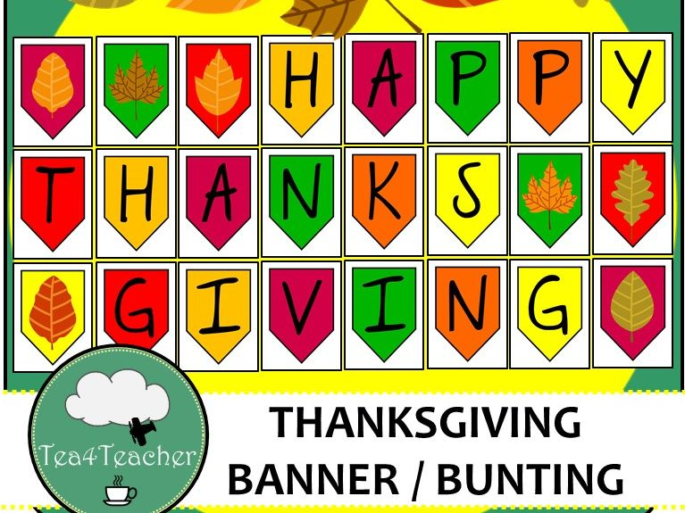 Happy Thanksgiving Banner - Great Thanksgiving Bunting with Fall Leaves & Colors