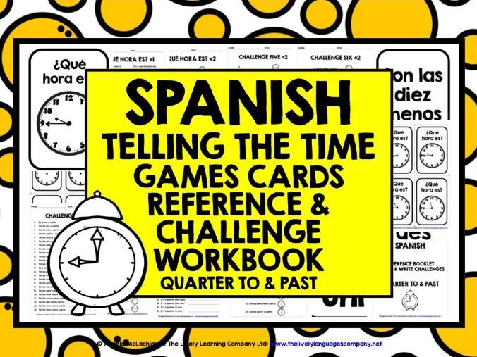 PRIMARY SPANISH TELLING TIME CARDS & WORKBOOK 2