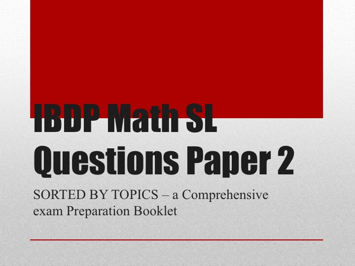 IBDP Math SL Questions Paper 2 Section A Sorted by Topics