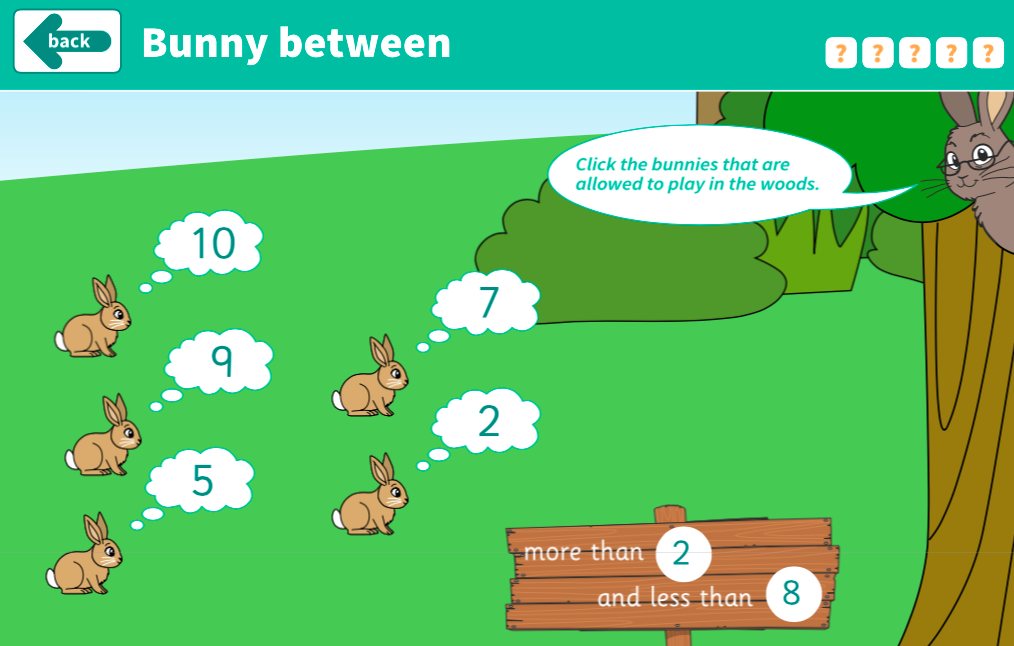 Comparing and Ordering Numbers to 10 - Bunny Between Interactive Game - EYFS Number
