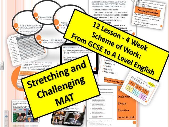12 Lesson Scheme of Work: GCSE AQA Language/Literature (A Level Introduction)