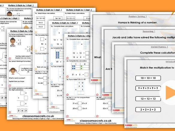 Year 3 Multiply 2-Digits by 1-Digit 1 Spring Block 1 Step 3 Lesson Pack