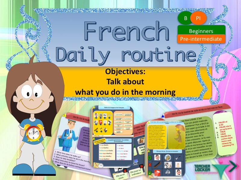 French daily routine in the morning (No prep) / Ma routine du matin en français (lesson + exercices)