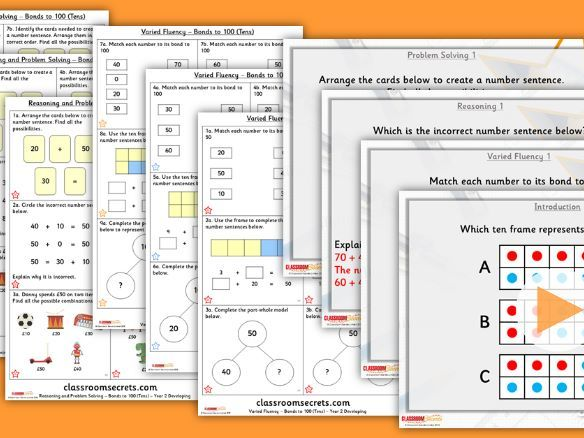 Year 2 Bonds to 100 (Tens) Autumn Block 2 Step 5 Lesson Pack