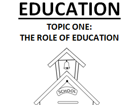 ROLE OF THE EDUCATION SYSTEM [6 LESSONS] - AQA A-LEVEL SOCIOLOGY