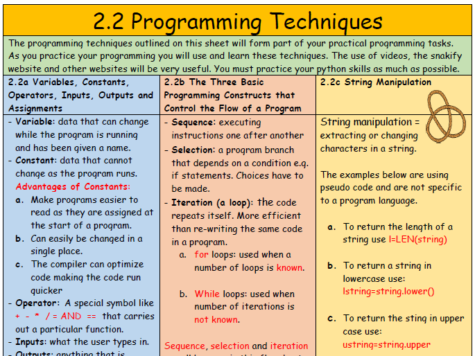2.2 Programming Techniques Summary Sheet (with quick fire questions)