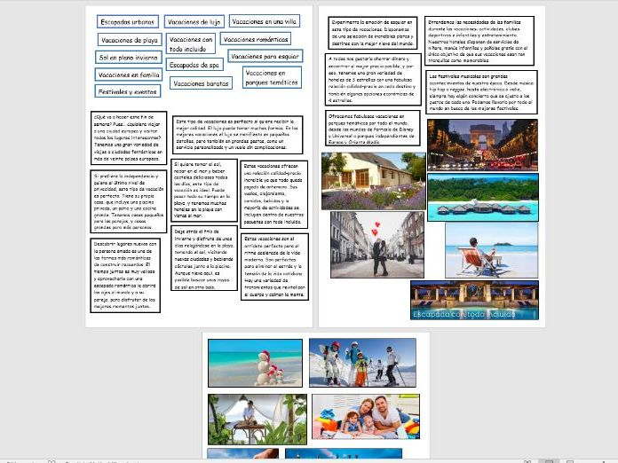 GCSE Spanish: Types of Holidays