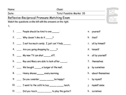 Reflexive-Reciprocal Pronouns Matching Exam
