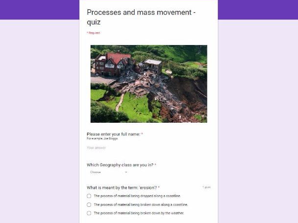 AQA GCSE Geography (2016-) Self marking quizzes. Unit 1 Physical Landscapes in the UK rivers coasts