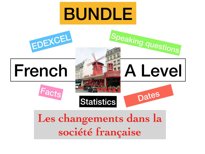 French - A Level - Les changements dans la société française (speaking mat : facts - statistics)