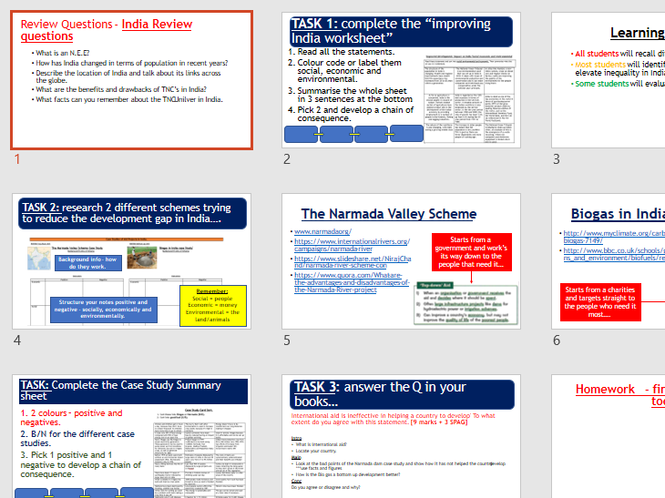AQA GCSE CHANGING ECONOMIC WORLD: L10 - India Aid example Case study (Lessons + Resources).