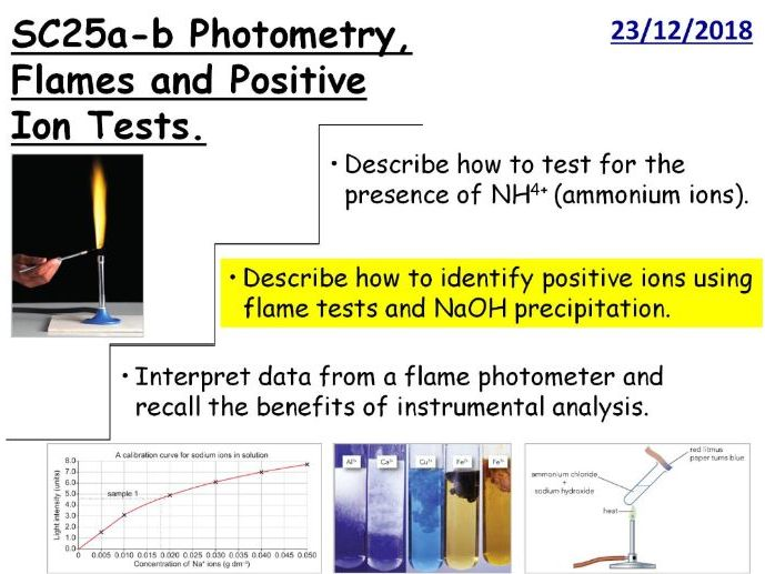 Flame Tests and Positive Ion tests GCSE Lesson (SC25a SC25b) TRIPLE