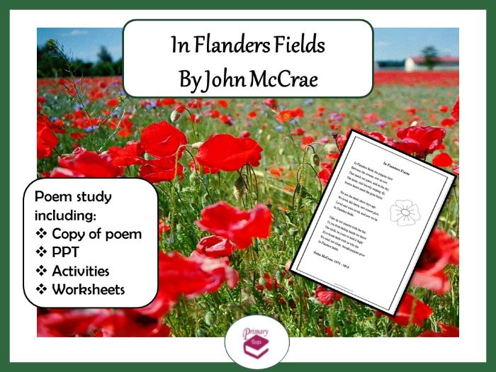 In Flanders Fields by John McCrae: PPT, poem and worksheets