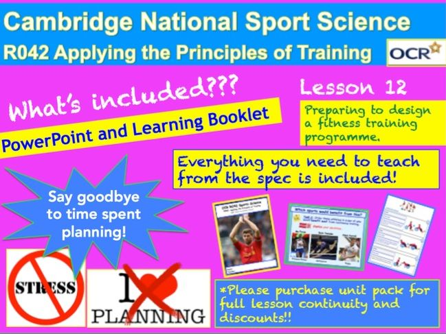 Cambridge National Sports Science R042: Preparing to design a training programme
