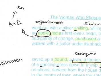 Feminine Gospels, Duffy: The Woman Who Shopped, poem analysis