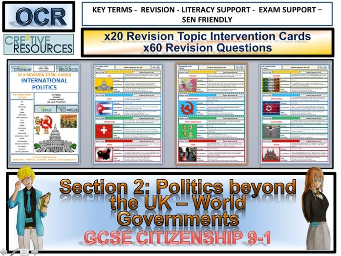 Citizenship GCSE 9-1 World Governments and Politics Beyond the UK Revision Topic Cards