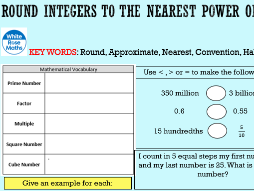 Year 7 White Rose SOW Place Value & Ordering Decimals Powerpoint