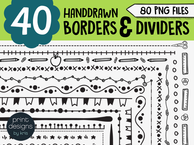 40 Borders and 40 Dividers for Worksheets, Newsletters, Handouts and More!