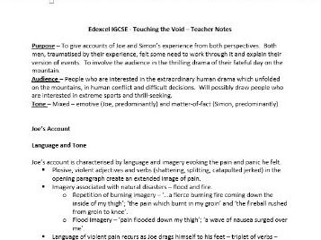 Touching the Void - Detailed Notes for Teachers & Students