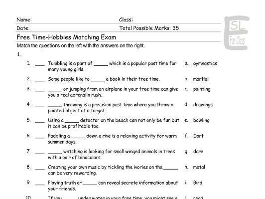 Free Time-Hobbies Matching Exam
