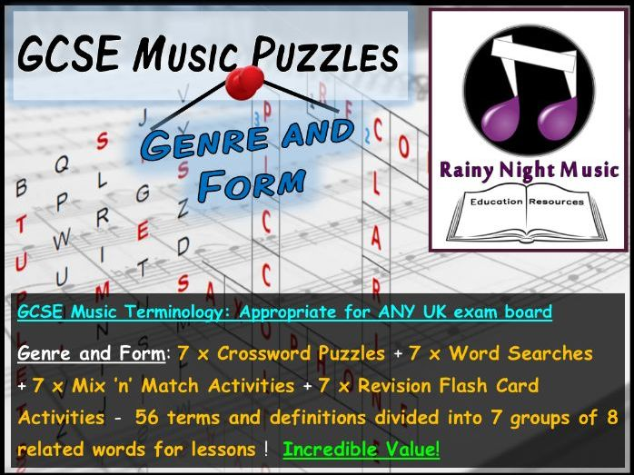GCSE MUSIC TERMINOLOGY PUZZLES – GENRE AND FORM – SUITED TO ALL UK GCSE MUSIC SPECS