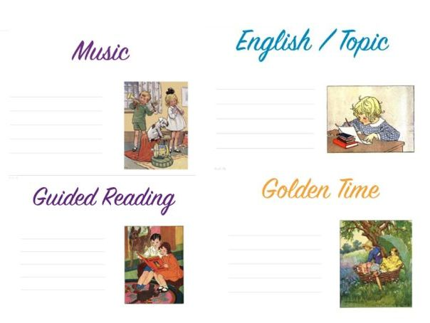 Visual timetable with space to add L.I. or lesson theme