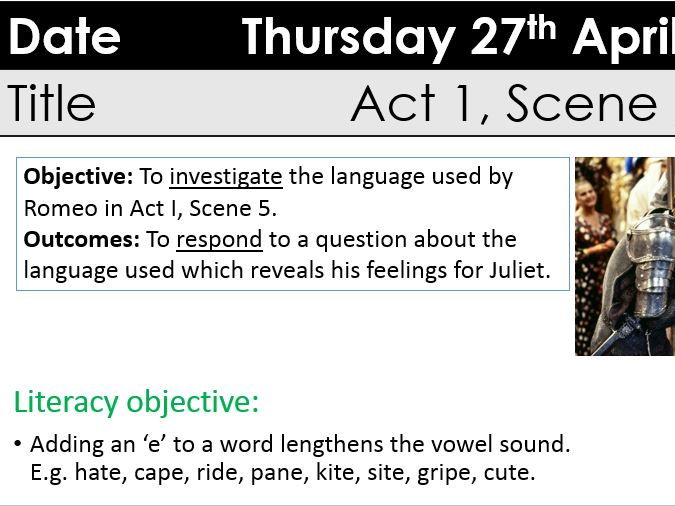 KS3/GCSE Romeo and Juliet Act 1 Scene 5 Romeo's Soliloquy