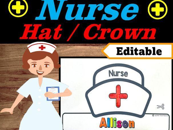 Nurse Hat Editable Name | Community Helpers Week Craft | Community Helper Hat