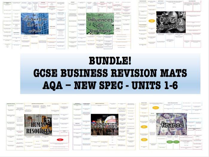GCSE BUSINESS STUDIES (9-1) REVISION MATS AQA NEW SPEC 8132