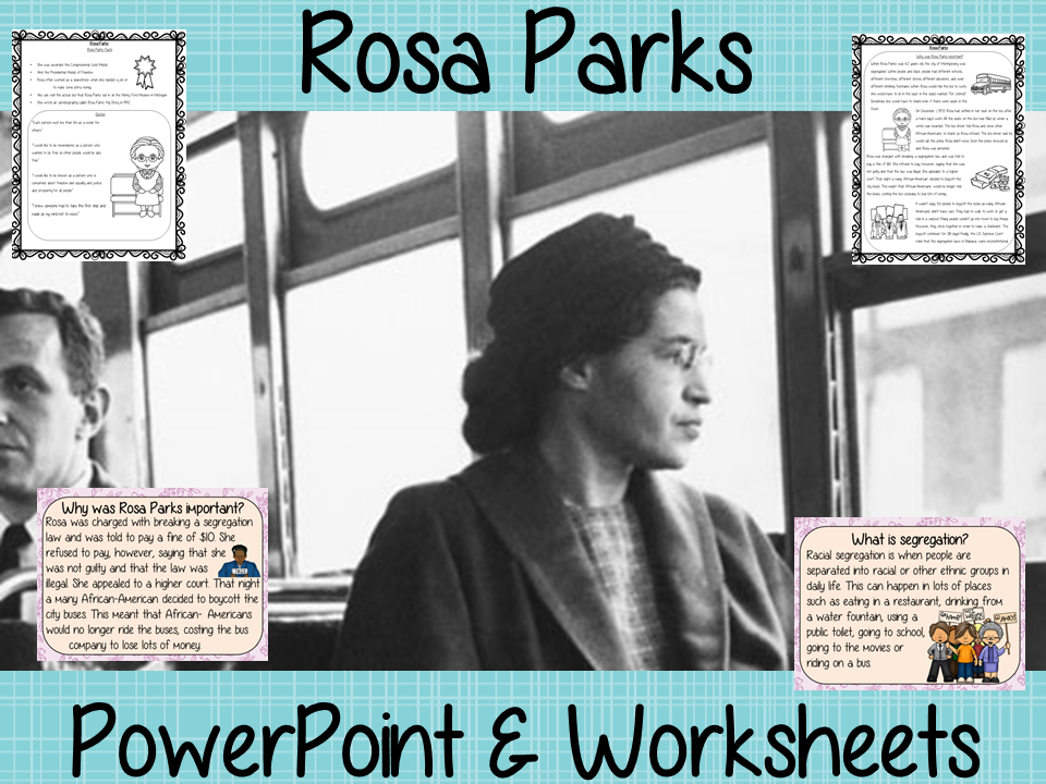 Rosa Parks PowerPoint and Worksheets Lesson