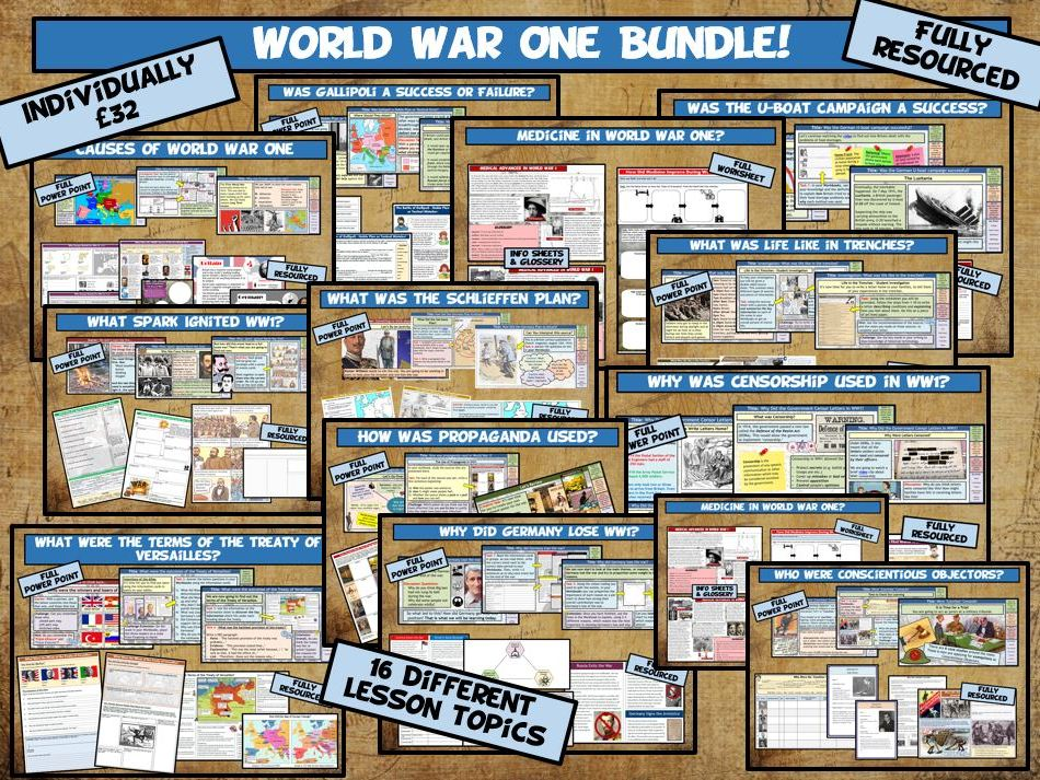 KS3 World War One 16 Lesson Bundle