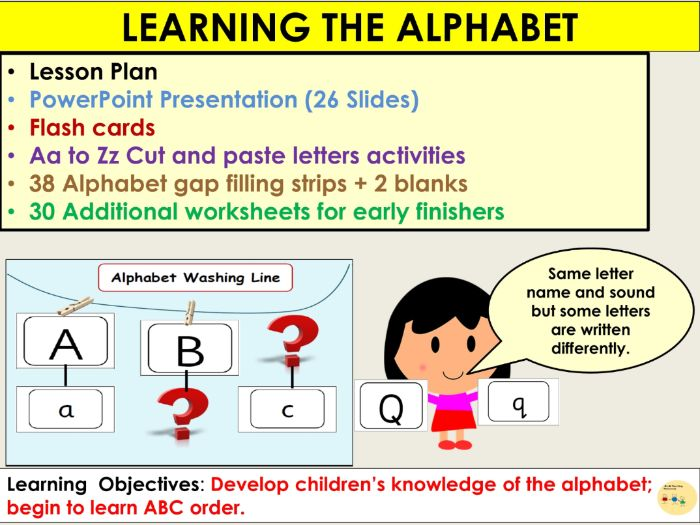 Alphabet Presentation, Lesson Plan, Alphabet flash cards, Missing Letters  Gap filling, Worksheets