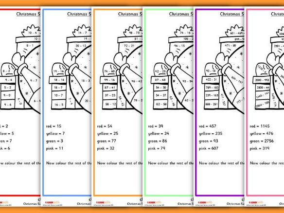 Christmas Subtraction Worksheets Colour by Numbers