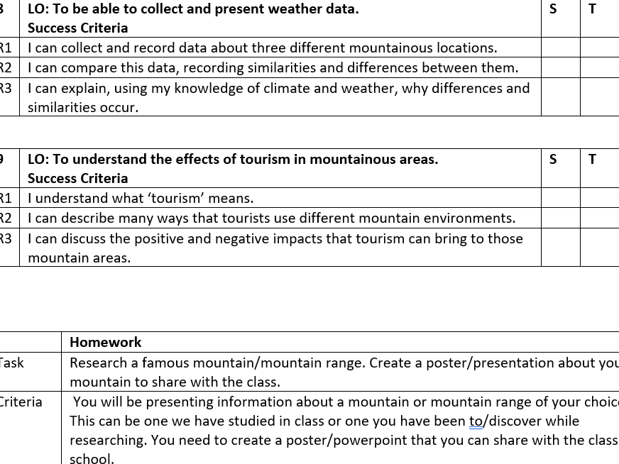 Y6 Mountain Learning Objectives
