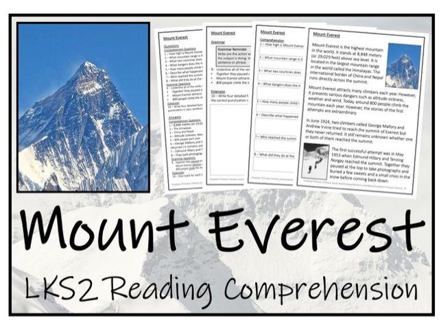 LKS2 Geography - Mount Everest Reading Comprehension Activity
