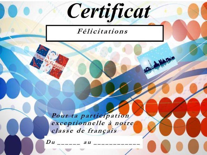 General French certificate 8/ Certificat de francais 8