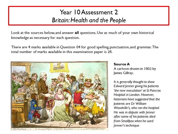 AQA 1-9 practice assessment: Britain Health and the People (vaccination and 'factors' questions)