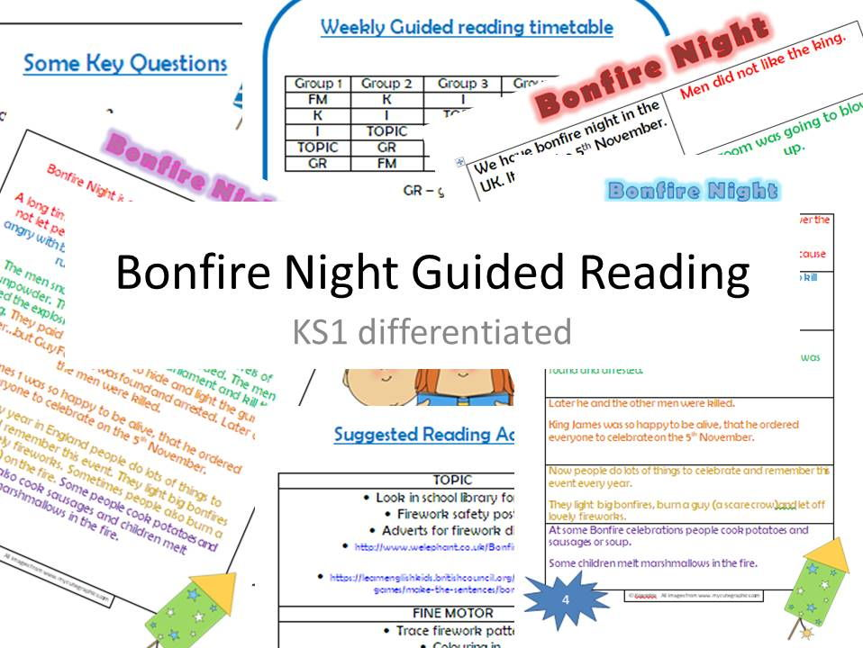 Bonfire Night Guided reading - KS1 - differentiated