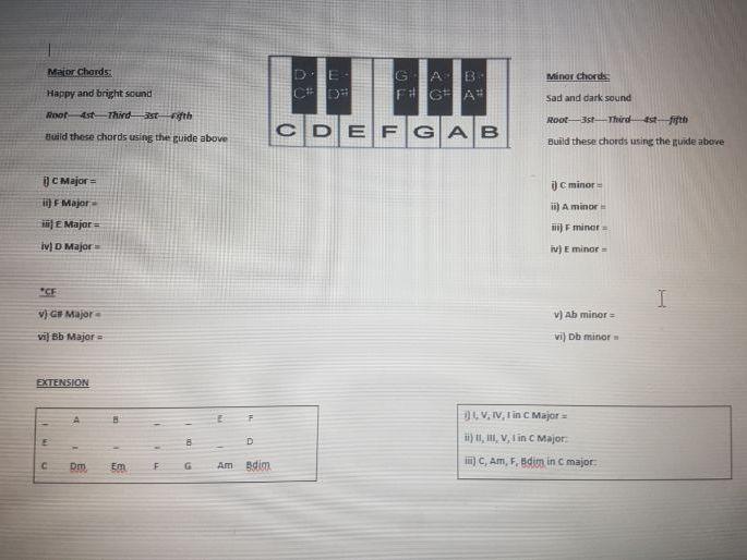 Years 9-10 Chords Worksheet
