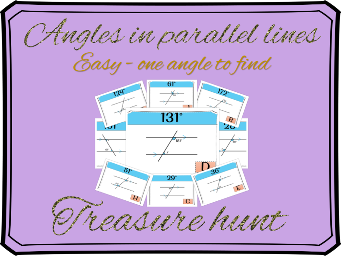 Angles in parallel lines - Finding one angle treasure hunt