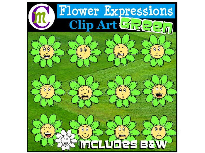 Flower Emotions Clipart | Green Flowers Clip Art