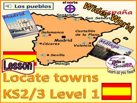PRIMARY SPANISH LESSON (KS2/3):Nationality (UK/French/Spanish); basic compass points; locating towns