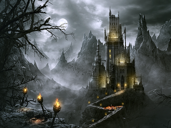 Writing a description of Dracula's castle. Gothic Horror Novel