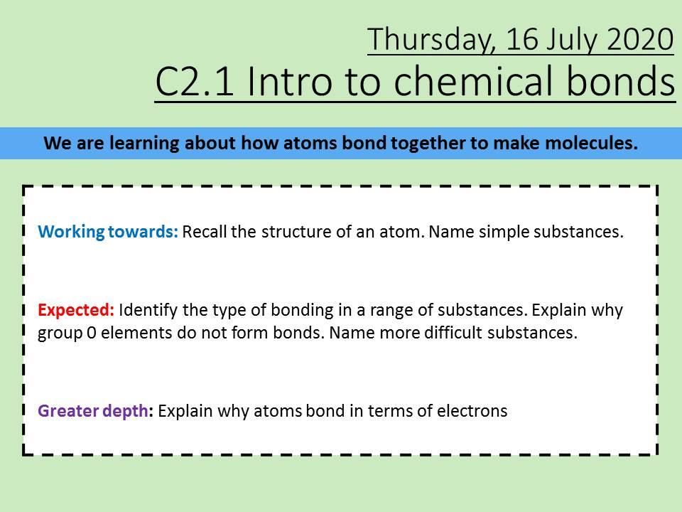 AQA Chemistry C2 Introduction to Bonding Foundation