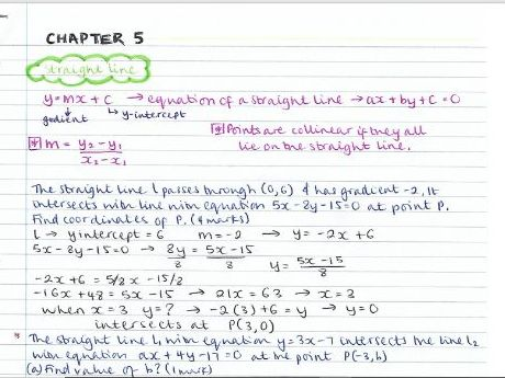 AS Pure Maths notes- Chapter 5 (Straight line graphs)