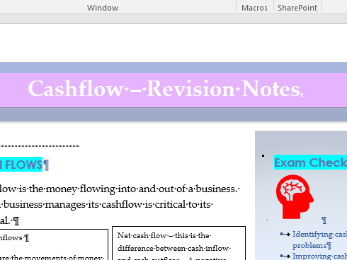 Revision Notes Cashflow