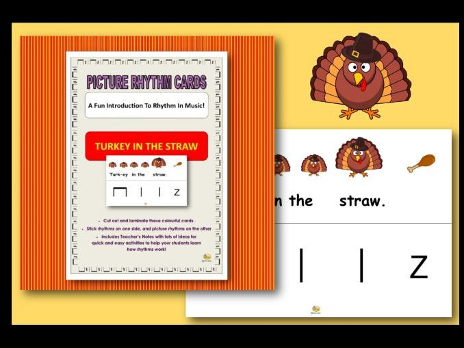 """Picture Rhythm Cards - THANKSGIVING - """"TURKEY IN THE STRAW"""""""