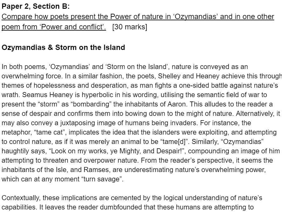 AQA Exemplar Ozymandias & Storm on the Island