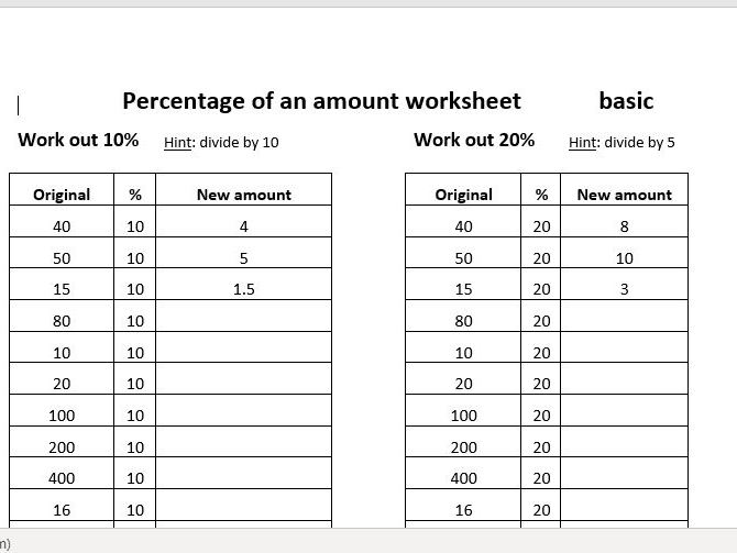 Percentage of amount RAG worksheet and editable Excel worksheet