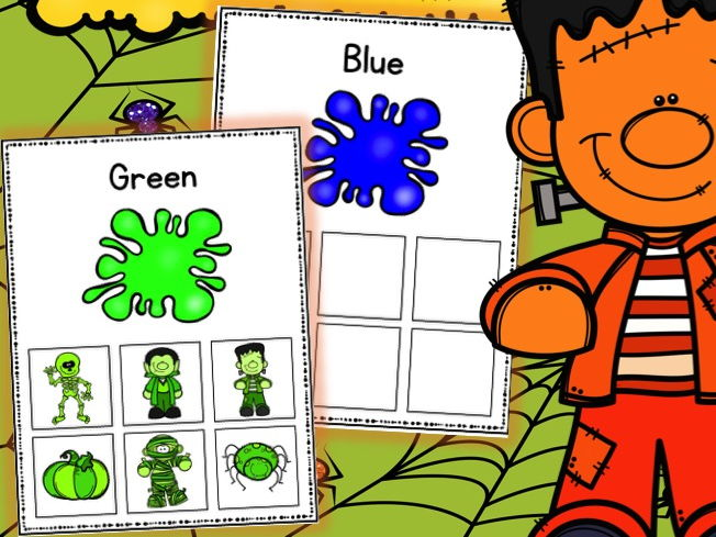 Halloween Colour Sorting Cards Color